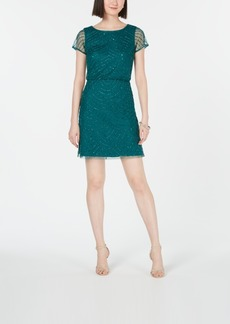 Adrianna Papell Hand-Beaded Blouson Sheath Dress