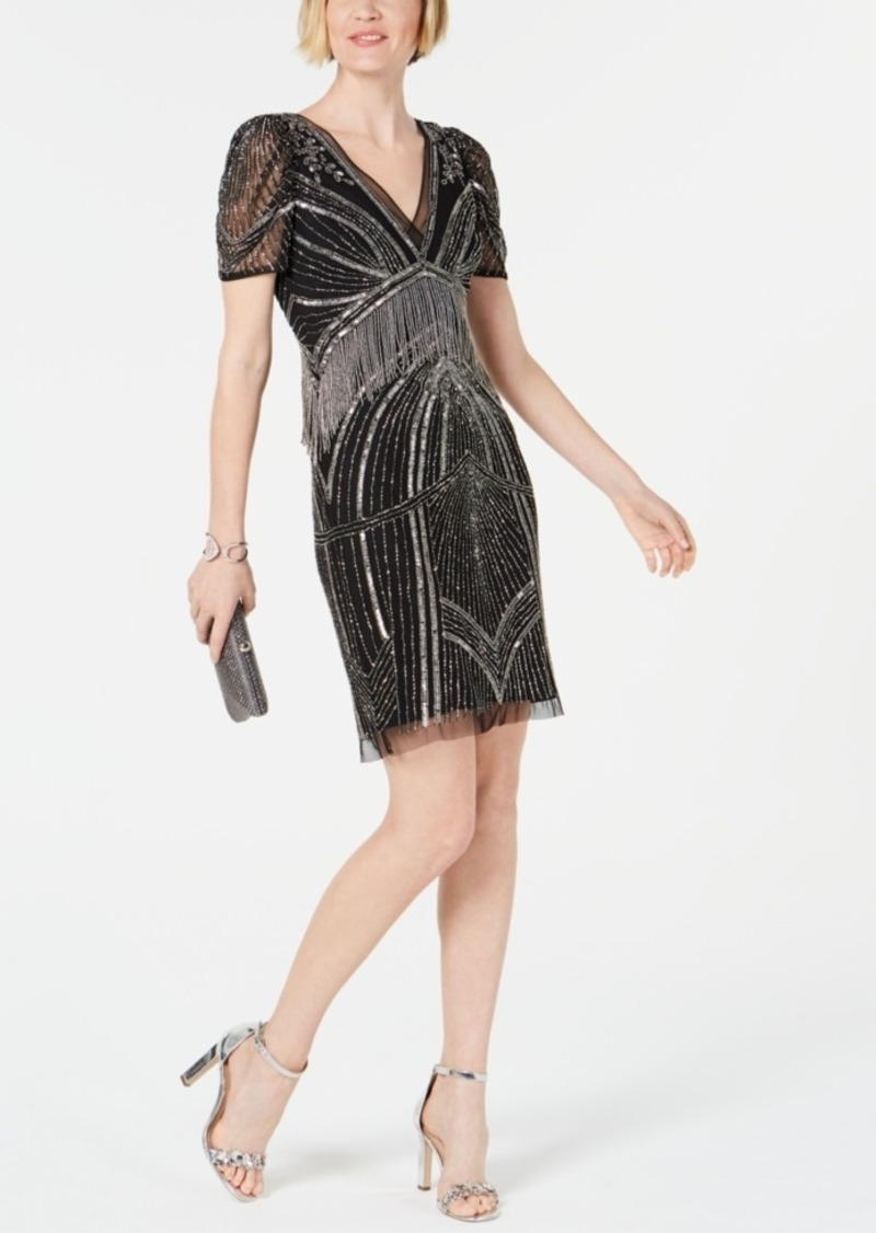 Adrianna Papell Hand-Beaded Illusion Sheath Dress