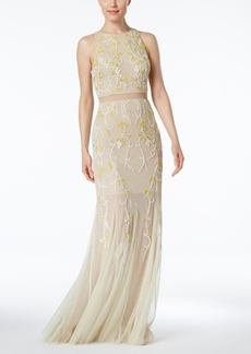 Adrianna Papell Illusion 2-Pc. Beaded Gown