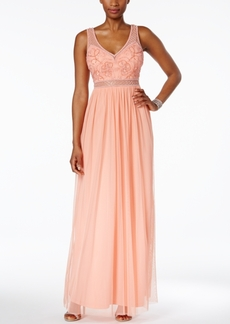 Adrianna Papell Illusion Beaded Gown