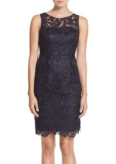 Adrianna Papell Illusion Bodice Lace Sheath Dress