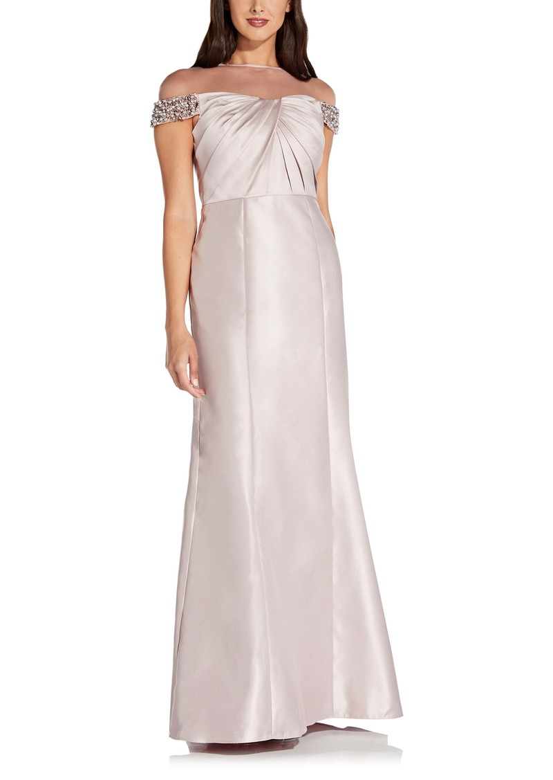 Adrianna Papell Illusion Embellished Mikado Trumpet Gown