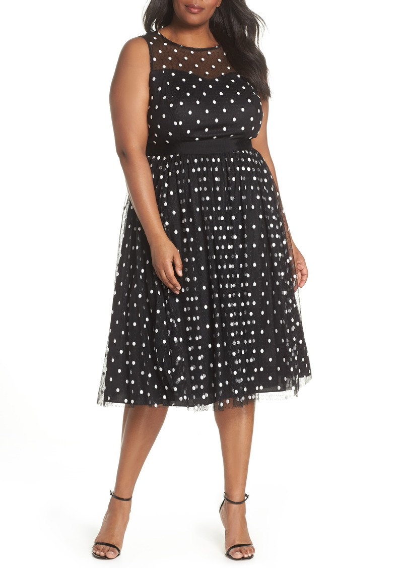 3771360b601f6 Adrianna Papell Adrianna Papell Illusion Fit   Flare Dress (Plus ...
