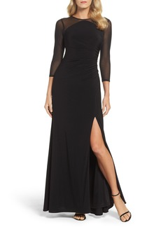 Adrianna Papell Illusion Jersey Gown (Regular & Petite)