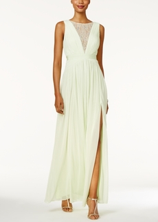 Adrianna Papell Illusion-Lace Open-Back Gown