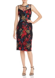 Adrianna Papell Illusion Neck Floral-Embroidered Sheath Dress