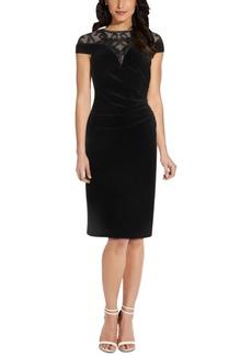 Adrianna Papell Illusion-Neck Velvet Sheath Dress