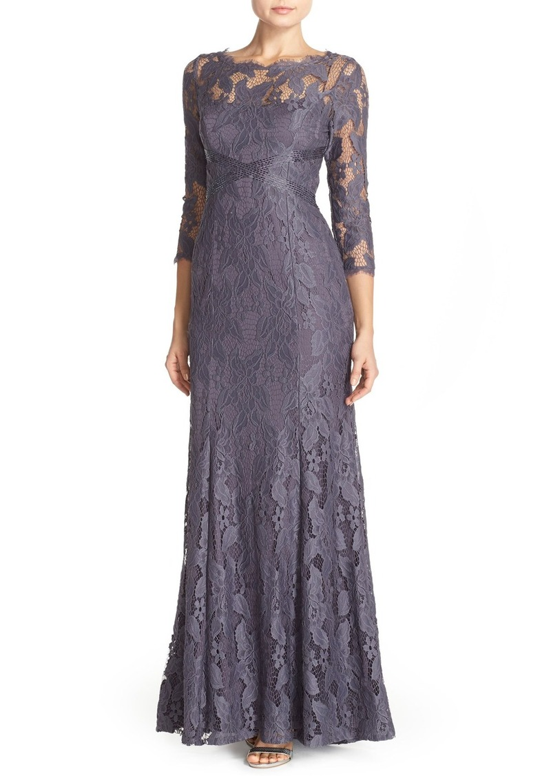 SALE! Adrianna Papell Adrianna Papell Illusion Yoke Lace Gown