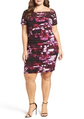 Adrianna Papell Illusion Yoke Print Shutter Pleat Sheath Dress (Plus Size)