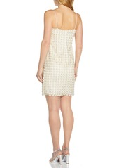 Adrianna Papell Imitation Pearl Floral Sheath Cocktail Dress