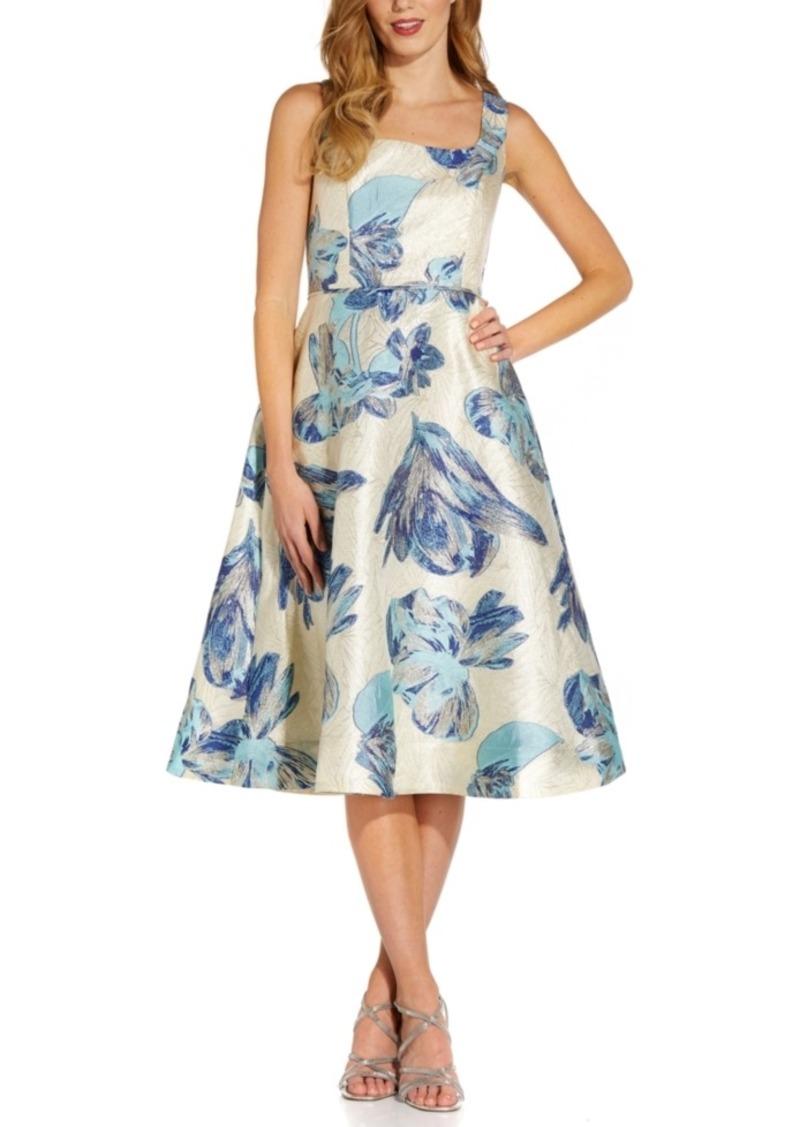 Adrianna Papell Jacquard A-Line Midi Dress