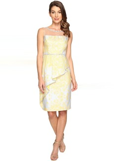 Adrianna Papell Jacquard Sheath Dress w/ Cascade Peplum