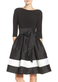 Adrianna Papell Jersey & Colorblock Taffeta Fit & Flare Dress