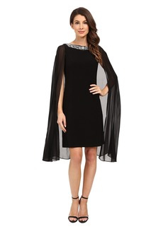 Adrianna Papell Jersey Beaded Cape Dress