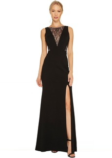 Adrianna Papell Jersey Mermaid Gown with Lace Insets