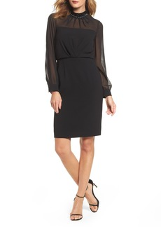 Adrianna Papell Jewel Neck Sheath Dress