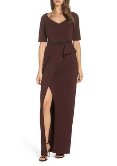 Adrianna Papell Jeweled Front Belt Crepe Gown