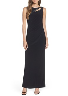Adrianna Papell Jeweled Yoke Matte Jersey Evening Dress