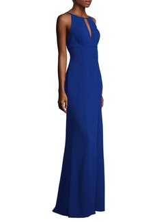 Adrianna Papell Keyhole Halter Gown