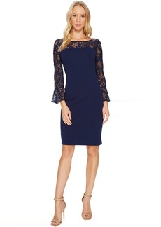 Adrianna Papell Knit Crepe and Lace Sheath Dress