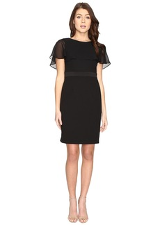 Adrianna Papell Knit Crepe Capelet Sheath Dress