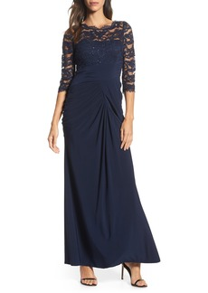 Adrianna Papell Lace & Draped Jersey Gown (Regular & Petite)