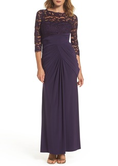 Adrianna Papell Lace & Draped Jersey Gown