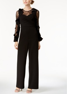 Adrianna Papell Lace & Ruffle Jumpsuit