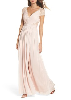 Adrianna Papell Lace & Tulle Gown