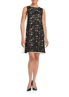 Adrianna Papell Lace-Accented Trapeze Dress