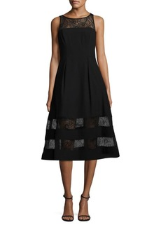 Adrianna Papell Lace and Crepe Cocktail Dress