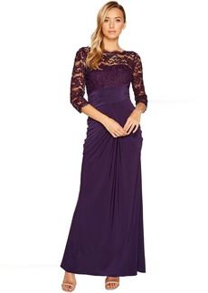 Adrianna Papell Lace and Draped Jersey Gown