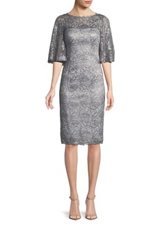 Adrianna Papell Lace Bell-Sleeve Knee-Length Dress