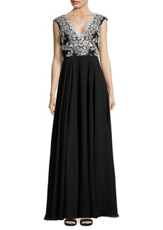 Adrianna Papell Lace Bodice Gown