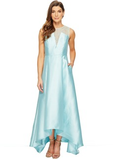 Adrianna Papell Lace Bodice Yoke and Mikado Combo Ball Gown
