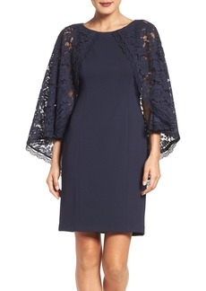 Adrianna Papell Lace Cape Sheath Dress