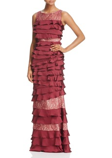 Adrianna Papell Lace-Detail Ruffle Gown