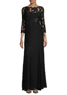 Adrianna Papell Lace Floor-Length Gown