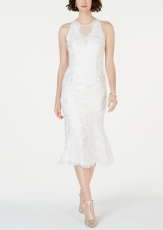 Adrianna Papell Lace Flounce-Hem Dress
