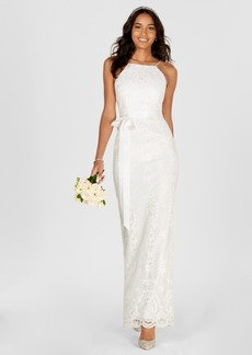 Adrianna Papell Lace Halter Column Gown