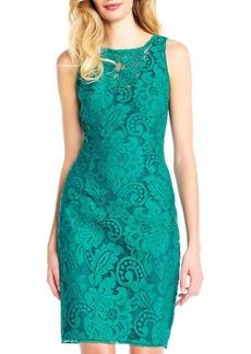 Adrianna Papell Lace Halter Sheath Dress