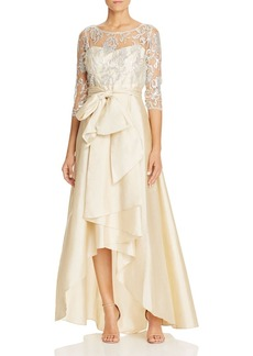 Adrianna Papell Lace High/Low Gown