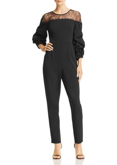Adrianna Papell Lace-Inset Crepe Jumpsuit