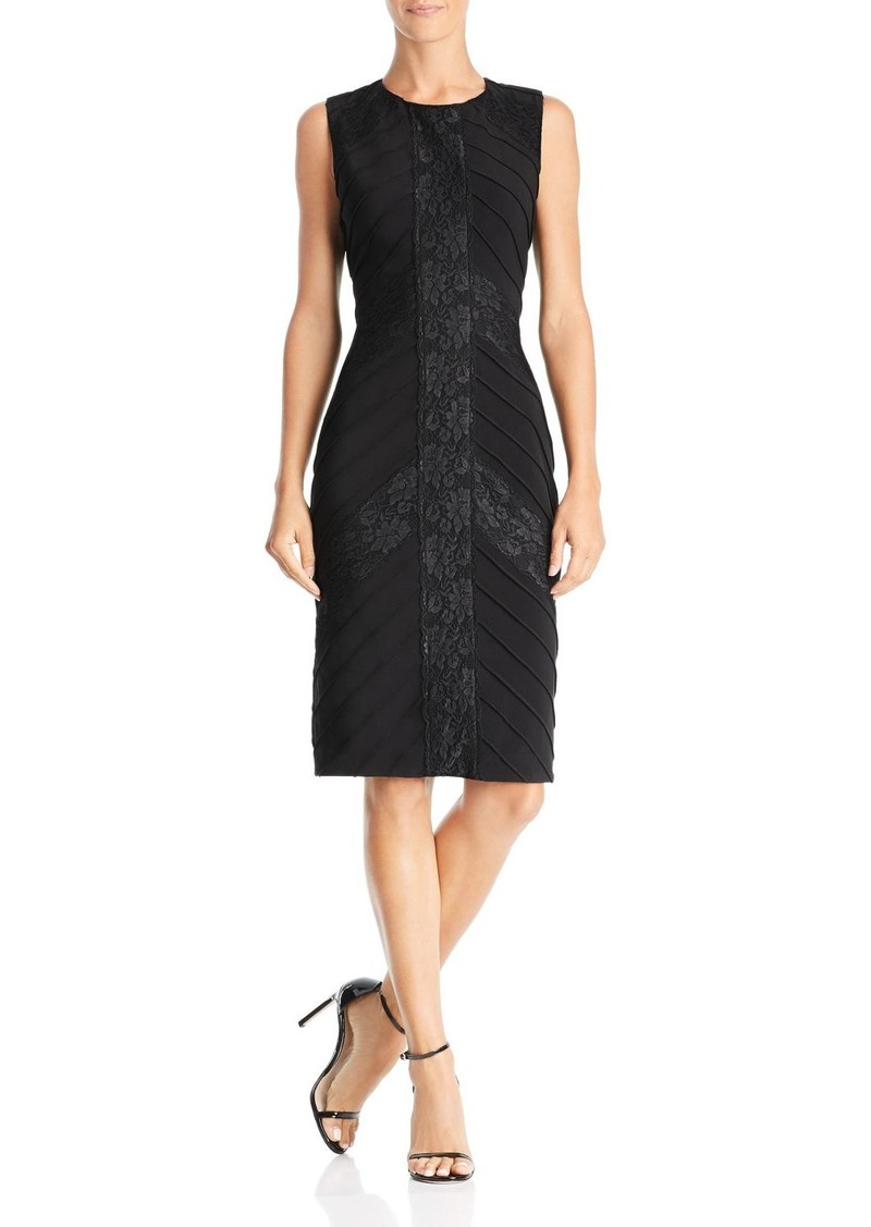Adrianna Papell Lace-Inset Pintuck Dress
