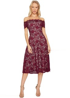 Adrianna Papell Lace Midi Fit and Flare Dress