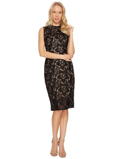 Adrianna Papell Lace Mock Neck Sheath Dress