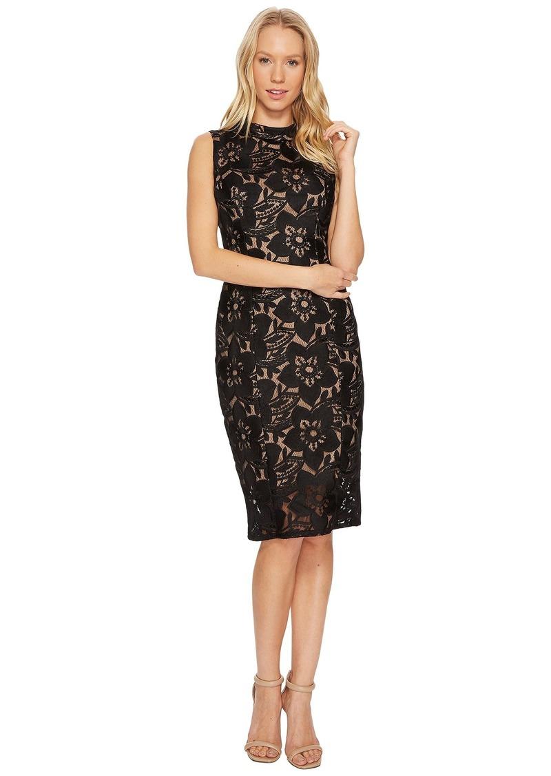 Adrianna Papell Lace Mock Neck Sheath Dress