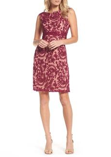 Adrianna Papell Lace Overlay Sheath Dress (Regular & Petite)