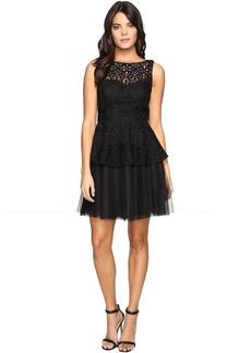 Adrianna Papell Lace Peplum Dress w/ Full Netted Skirt