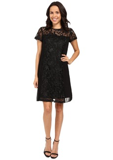 Adrianna Papell Lace Shift Dress w/ Pleated Side Panels